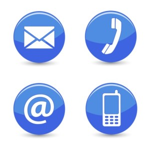 Contact Us Web Blue Buttons Icons
